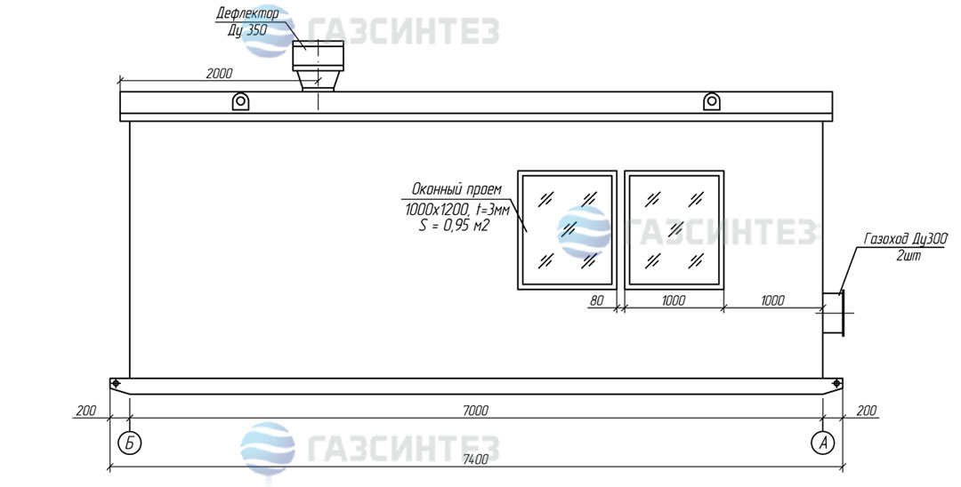 Габаритный чертеж блочно-модульной котельной мощностью 1,0 МВт