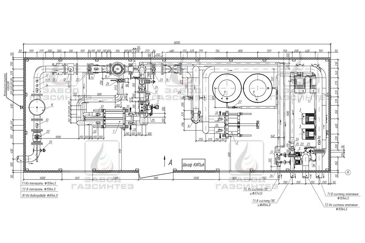 схема теплового узла с приборами учёта тепла